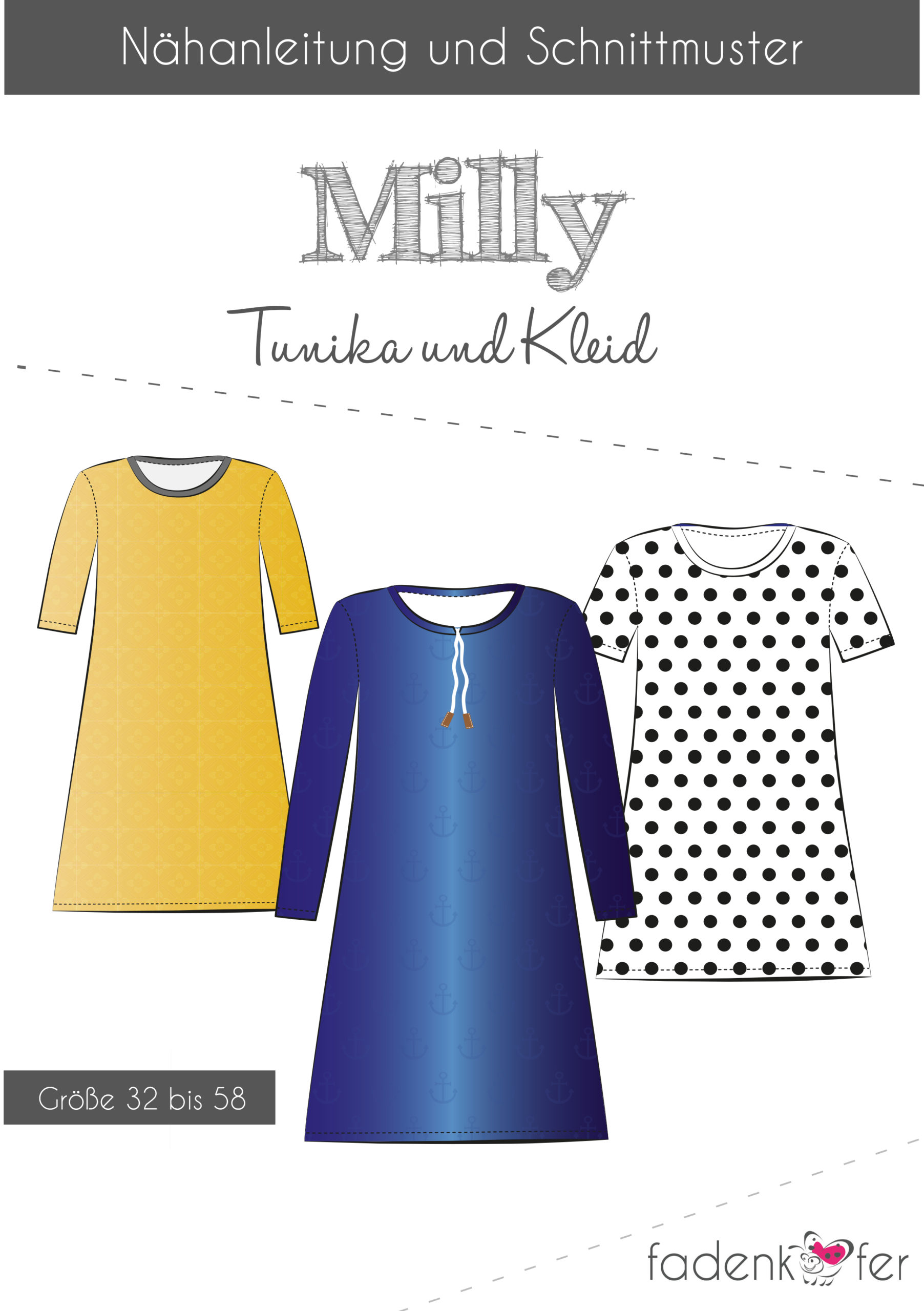 Paper cut pattern tunic + dress Milly for adults of thread beetle Stoffträume4you