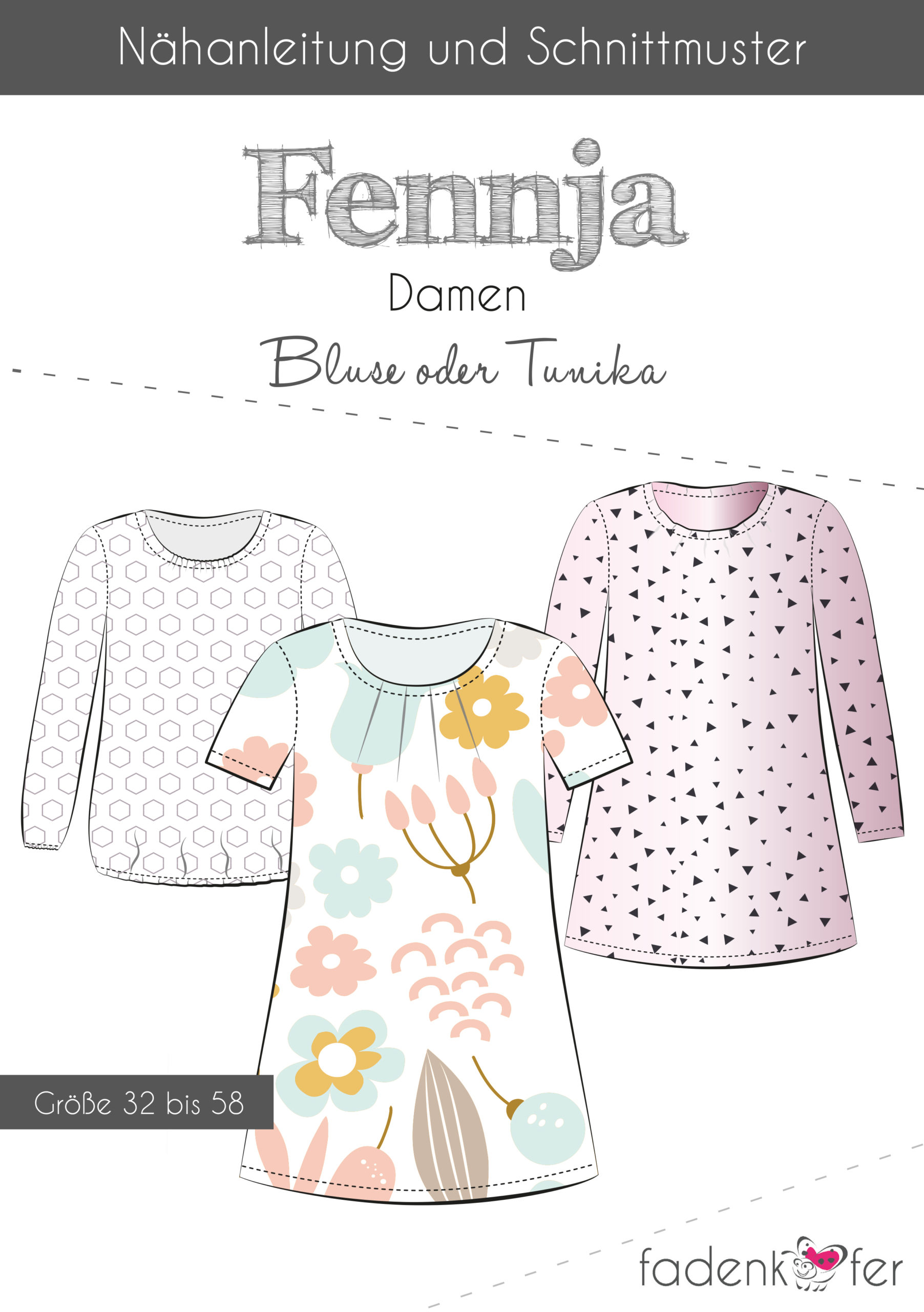 Sewing pattern Fennja 32-58 blouse and tunic paper thread beetle Stoffträume4you