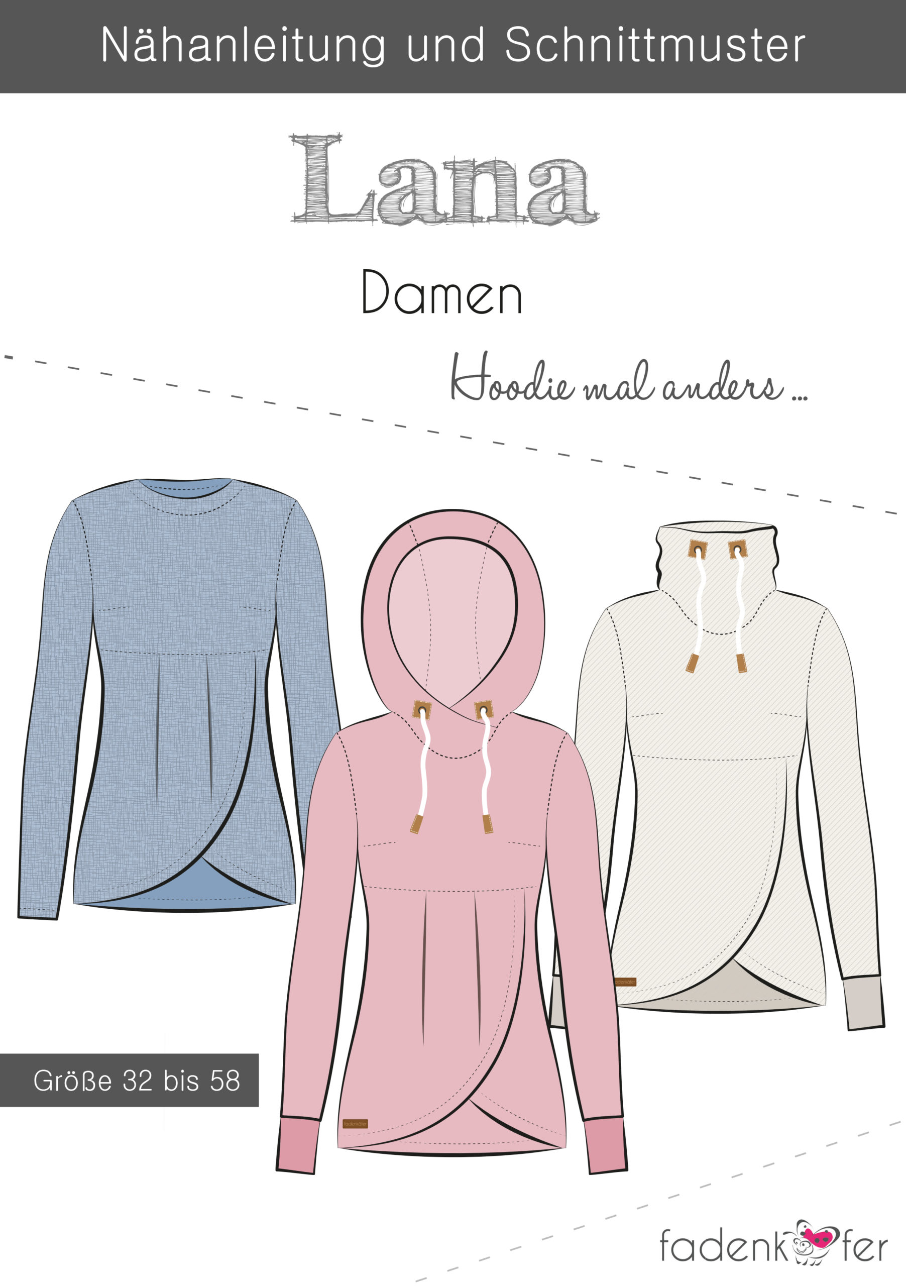 Sewing pattern Lana women's hoodie and more 32-58 thread beetles included Stoffträume4youSewing pattern Lana women's hoodie and more 32-58 thread beetles included Stoffträume4you