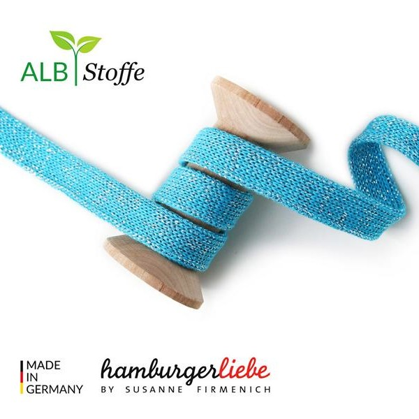 Cord Me Glow A16 Turquoise with Silver Lurex Hamburger Liebe Albstoffe
