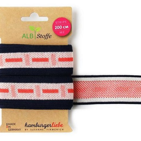 Stripe Me Icon 48 Wanderlust Hamburger Liebe WHITESTOFFE Knitted ribbon for decorating items of clothing