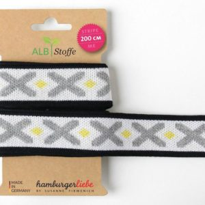 Stripe Me Icon 62 Hamburger Liebe Weekender ALBSTOFFE knitted ribbon decorative ribbon gray with crosses