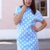 Sunny jacquard WEEKENDER Hamburger Liebe WHITESTOFFE. Design example from mimi sews (sewing blogger from Austria, see instagram), great, blue summer dress made of organicStoff.
