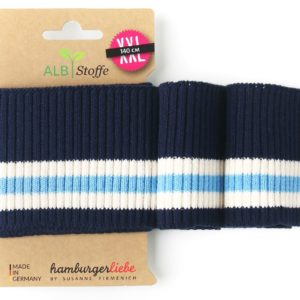 Cuff Me ripped 12 Hamburger Liebe WHITESTOFFE ready-made bundle with ribs dark blue