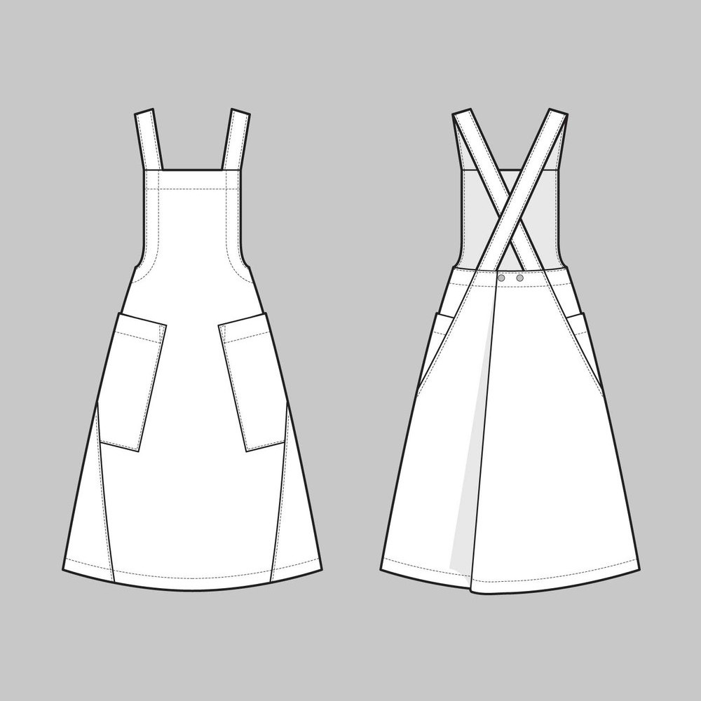 Apron Dress The Assembly Line Latzkleid Schuerzenkleid Zeichnung