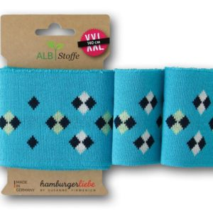 Cuff Me Icon 58 Turquoise Blue Navy White BLISS Hamburger Liebe ALBSTOFFE