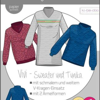 Vivie Sweater Tunika Damen Papierschnitt Stofftraeume4you
