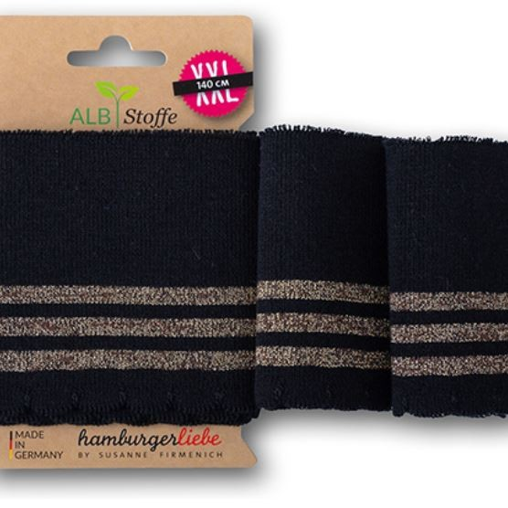 Cuff Me Wave 26 Glam Hamburger Liebe WHITESTOFFE SPARKLE Collection Susanne Firmenich Stofftraeume4you ready-made bundles to marry with wavy edge black with gold stripes