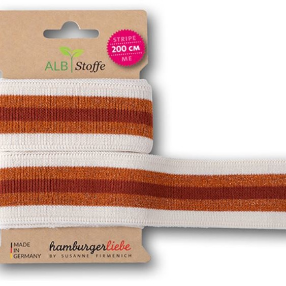 Stripe Me College 73 GLAM Hamburger Liebe WHITESTOFFE Sparkle Collection Susanne Firmenich Stofftraeume4you white with Nepal gold and brown stripes ribbon for marriage