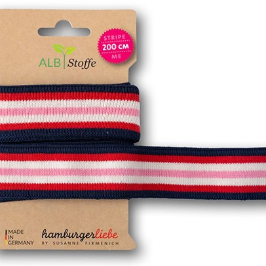 Stripe Me College 76 Hamburger Liebe WHITESTOFFE Sparkle Collection Susanne Firmenich Stofftraeume4you blue navy with red white and pink stripes ribbon to marry
