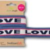 Stripe Me Icon 73 LOVE Hamburger Liebe WHITESTOFFE Sparkle Collection Susanne Firmenich Stofftraeume4you Jeans melange Lampone White and Blue Navy Love lettering decorative ribbon for marriage