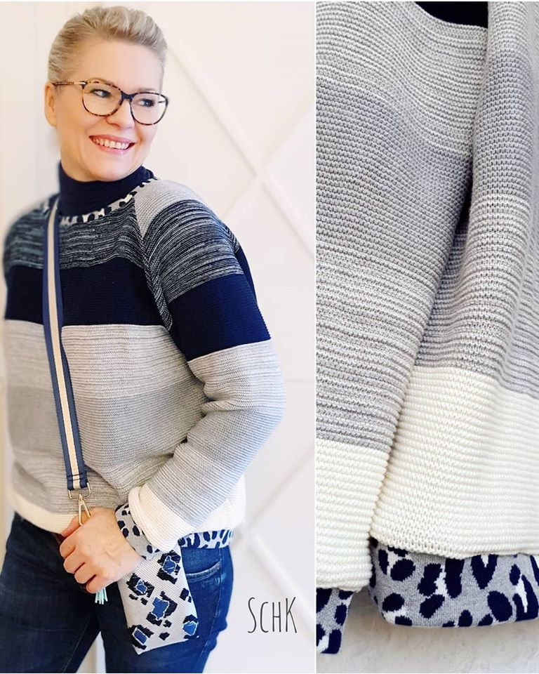 Cotton knit gradient Blue Navy Frowein Stofftraeume4you