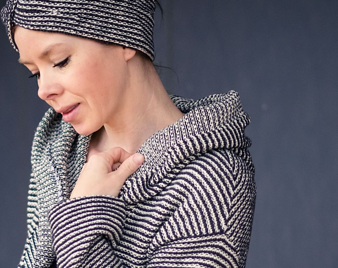 Knitstoff striped anthracite white Stofftraeume4you Frowein example Judith Favorite Handmade