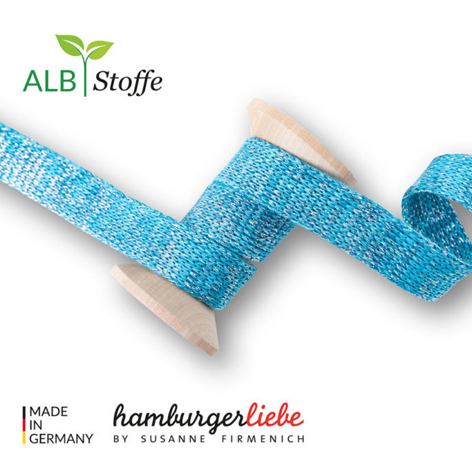 Cord me petrol turquoise silver Hamburger Liebe WHITESTOFFE Sparkle Stofftraeume4you