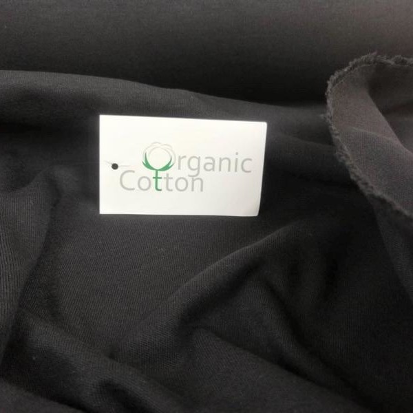 Organic Cotton Interlock Jersey Stofftraeume4you Bio-Stoffe Schwarz nah