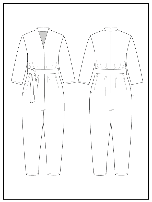 Papierschnittmuster V-Neck Jumpsuit The Assembly Line Stofftraeume4you Skizze