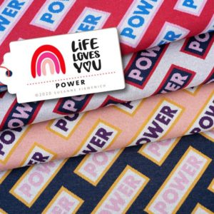 Bio-Jacquard Power Life loves You Hamburger Liebe Stofftraeume4you Albstoffe