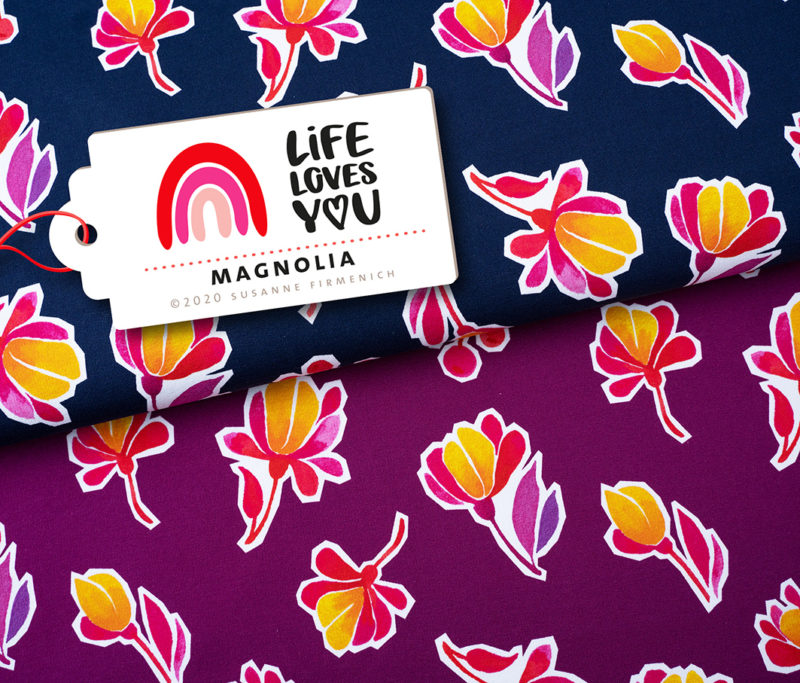 Magnolia Life Loves You Print Sweat oder Jersey Hamburger Liebe ALBSTOFFE Stofftraeume4you
