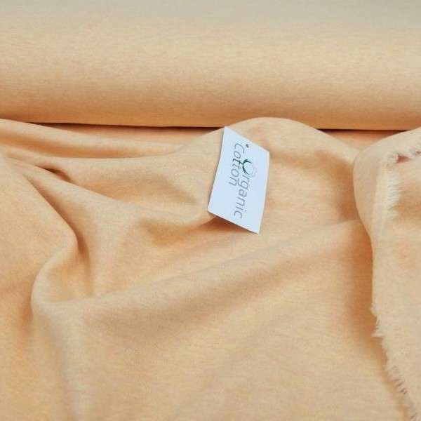 Organic Cotton Interlock Jersey Stofftraeume4you Bio-Stoffe Peach meliert