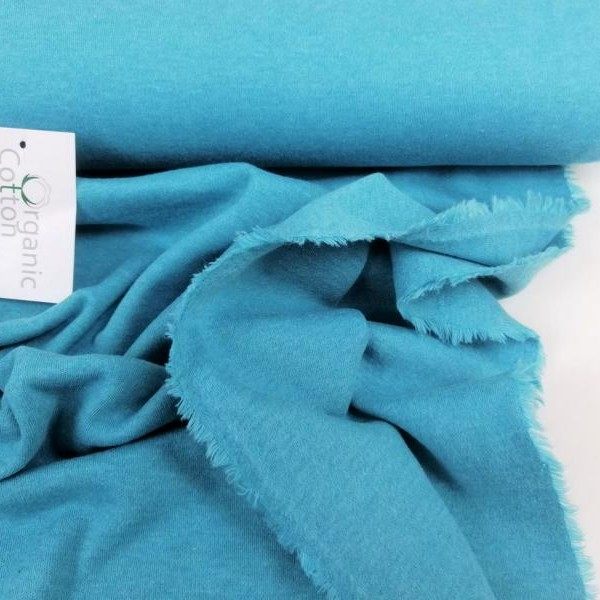 Organic cotton interlock jersey Stofftraeume4you organicStoffe turquoise mottled