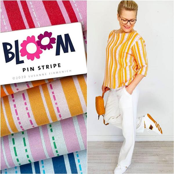 BLOOM Jacquard Pin Stripe Curry Albstoffe Hamburger Liebe Stofftraeume4you