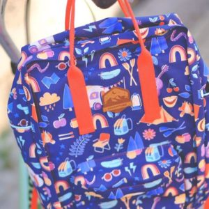 Canvas laminiert Blue Navy Happy Glamping Hamburger Liebe Stofftraeume4you Radiokopf Rucksack nah