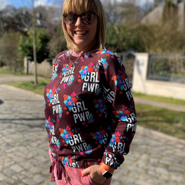 Girl Power GRL PWR BLOOM Hamburger Liebe ALBSTOFFE Bordeaux Hedi Naeht Sweater Stofftraeume4you