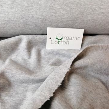 Organic Cotton Interlock Jersey Stofftraeume4you Bio-Stoffe Mittelgrau Nah