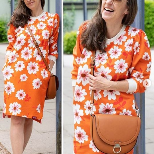 Bio-Jersey HELLO Orange BLOOM Hamburger Liebe ALBSTOFFE Stofftraeume4you Susanne Firmenich Kleid