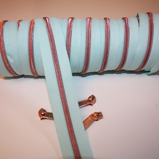 metallized zippers mint copper Stofftraeume4you