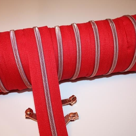 metallized zippers red copper Stofftraeume4you