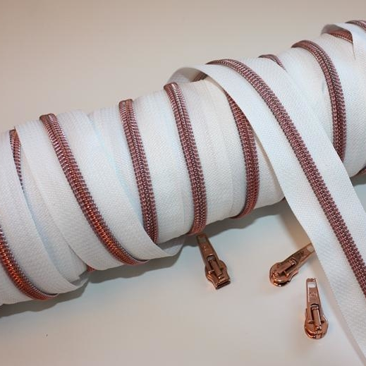 metallized zippers white copper Stofftraeume4you