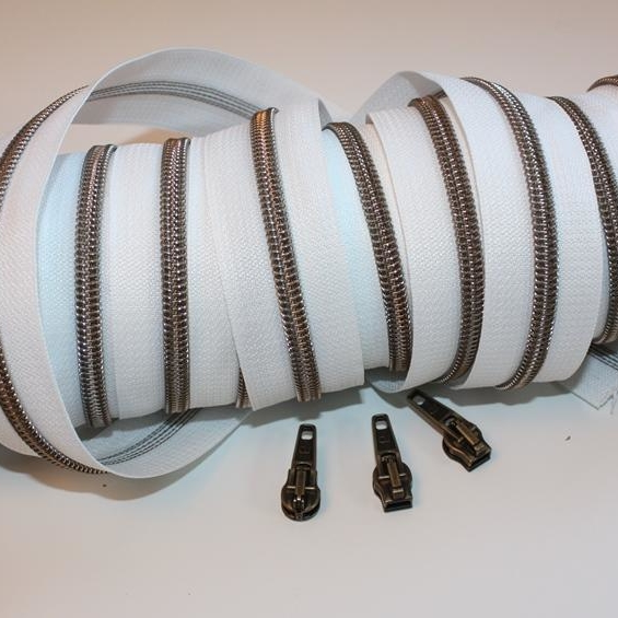 metallized zippers white brass antique Stofftraeume4you
