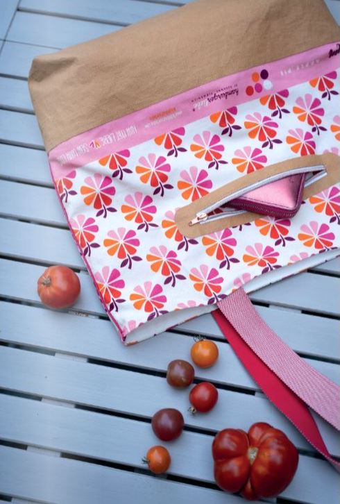 In my Kitchen Apple Pie Hamburger Liebe Stoff Pink-Rot Stofftraeume4you Tasche