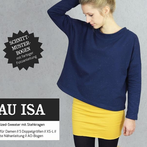 Frau ISA Oversized Sweater Schnittmuster Papier Studio Schnittreif Stofftraeume4you Cover