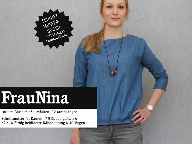 Ms. Nina blouse hem pleats sewing pattern paper studio ready for cutting Stofftraeume4you cover