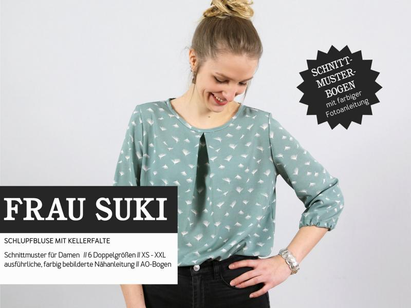 Ms. SUKI blouse box pleat pattern paper studio ready to cut Stofftraeume4you cover