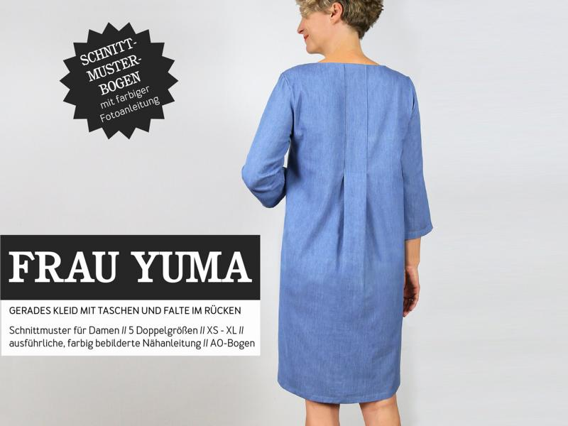 Woman YUMA dress back pleat sewing pattern paper studio ready to cut Stofftraeume4you cover