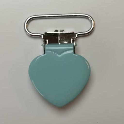 Metal clips heart MINT pacifier chain Stofftraeume4you baby everyone