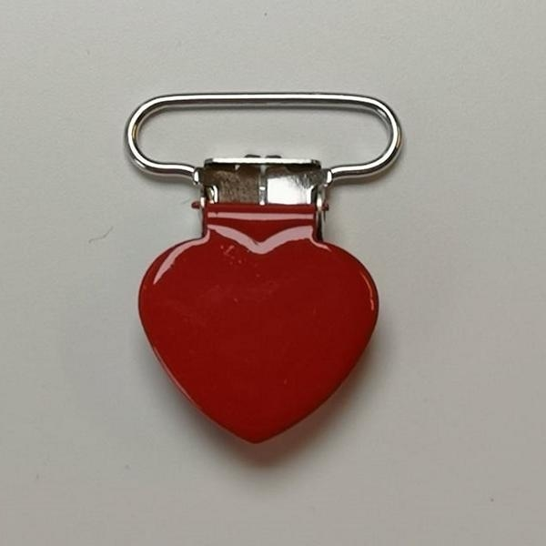 Metal clips heart RED pacifier chain Stofftraeume4you baby everyone