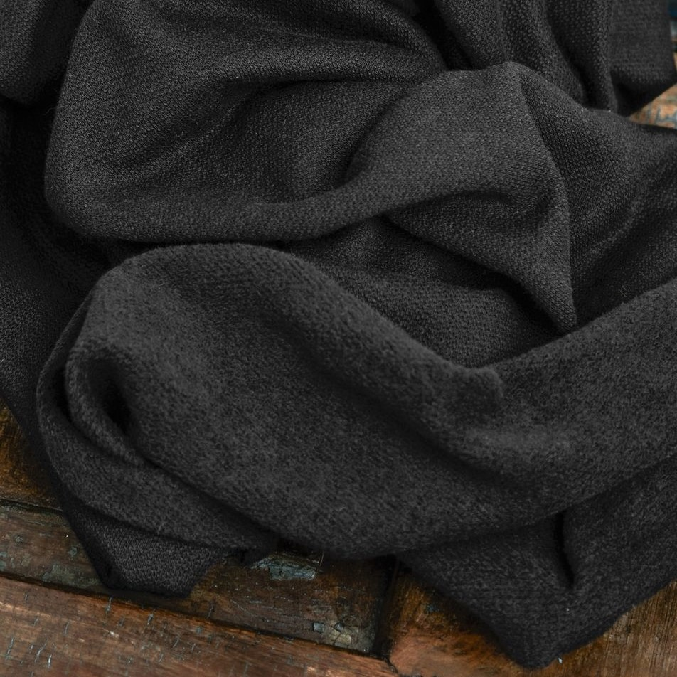 Organic Woolen Fleece Sweat Black Mind the Maker close Stoffdream4you (2)