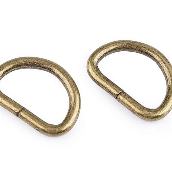 D-ring half ring brass antique 25mm thread hole Stofftraeume4you