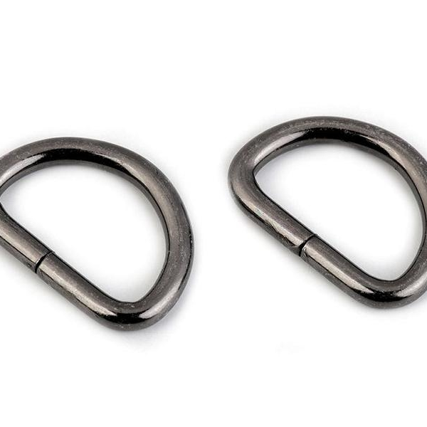 D-ring half ring nickel black 25mm thread hole Stofftraeume4you