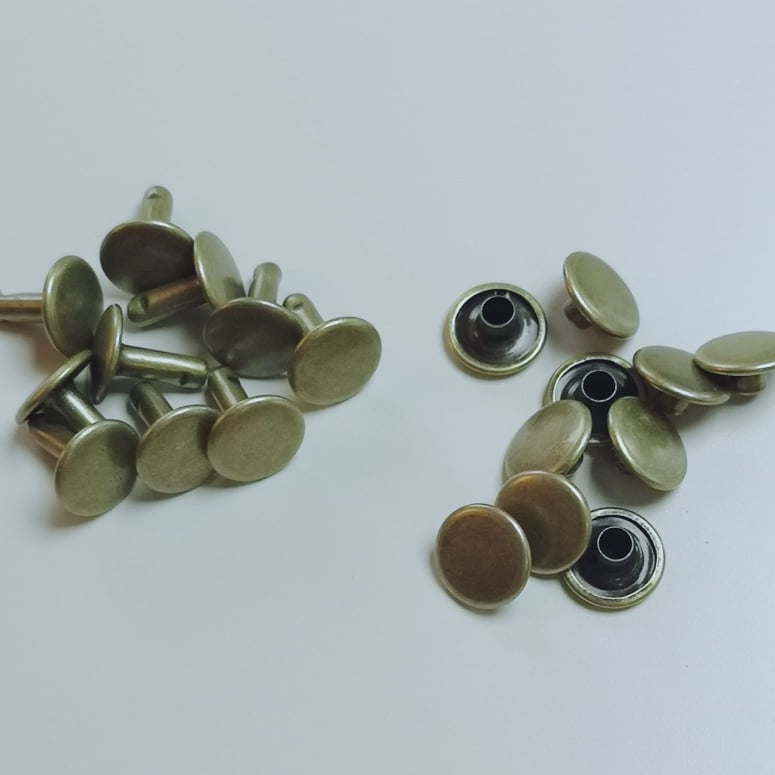 Hollow rivets 10mm old brass closed on both sides Stofftraeume4you