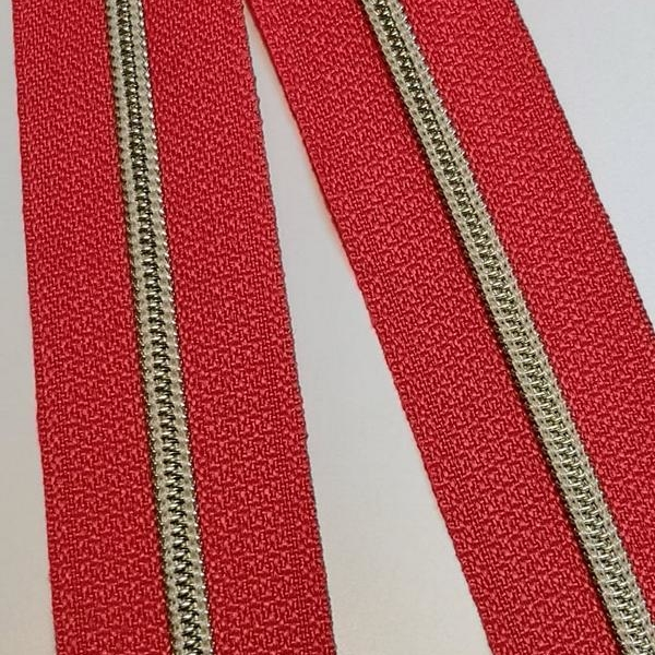Metallized zipper 120 red narrow ice gold Stoffdreams4you