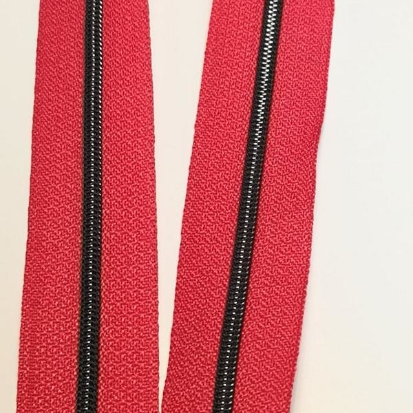 Metallized zipper 147 red narrow brass-black Stoffdreams4you