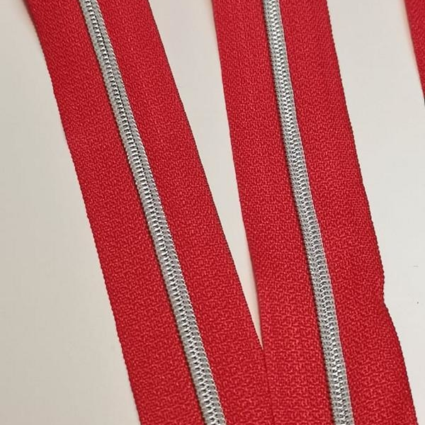 Metallized zipper 147 red narrow silver Stoffdreams4you