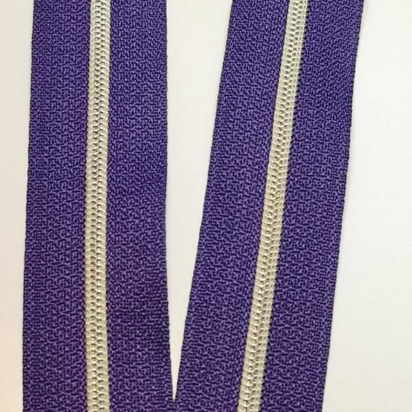 Metallized zipper 162 power violet indiga web narrow ice gold Stoffdreams4you