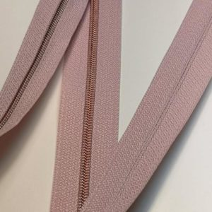 Metallized zipper 240 pink cake cream narrow copper Stoffdreams4you