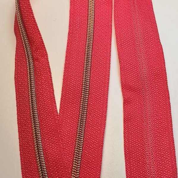 Metallized zipper 320 pink narrow copper Stoffdreams4you